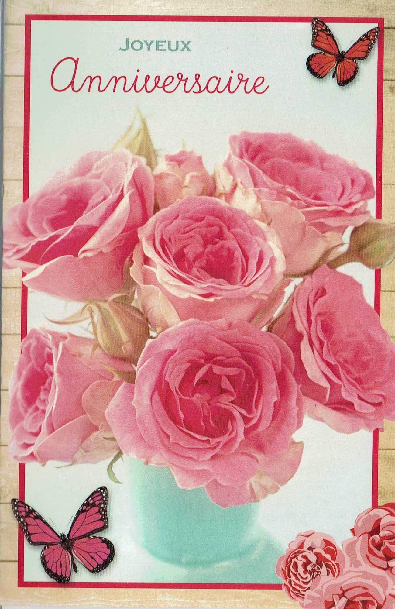 franse verjaardagskaart met roze rozen en vlinders met opschrift
