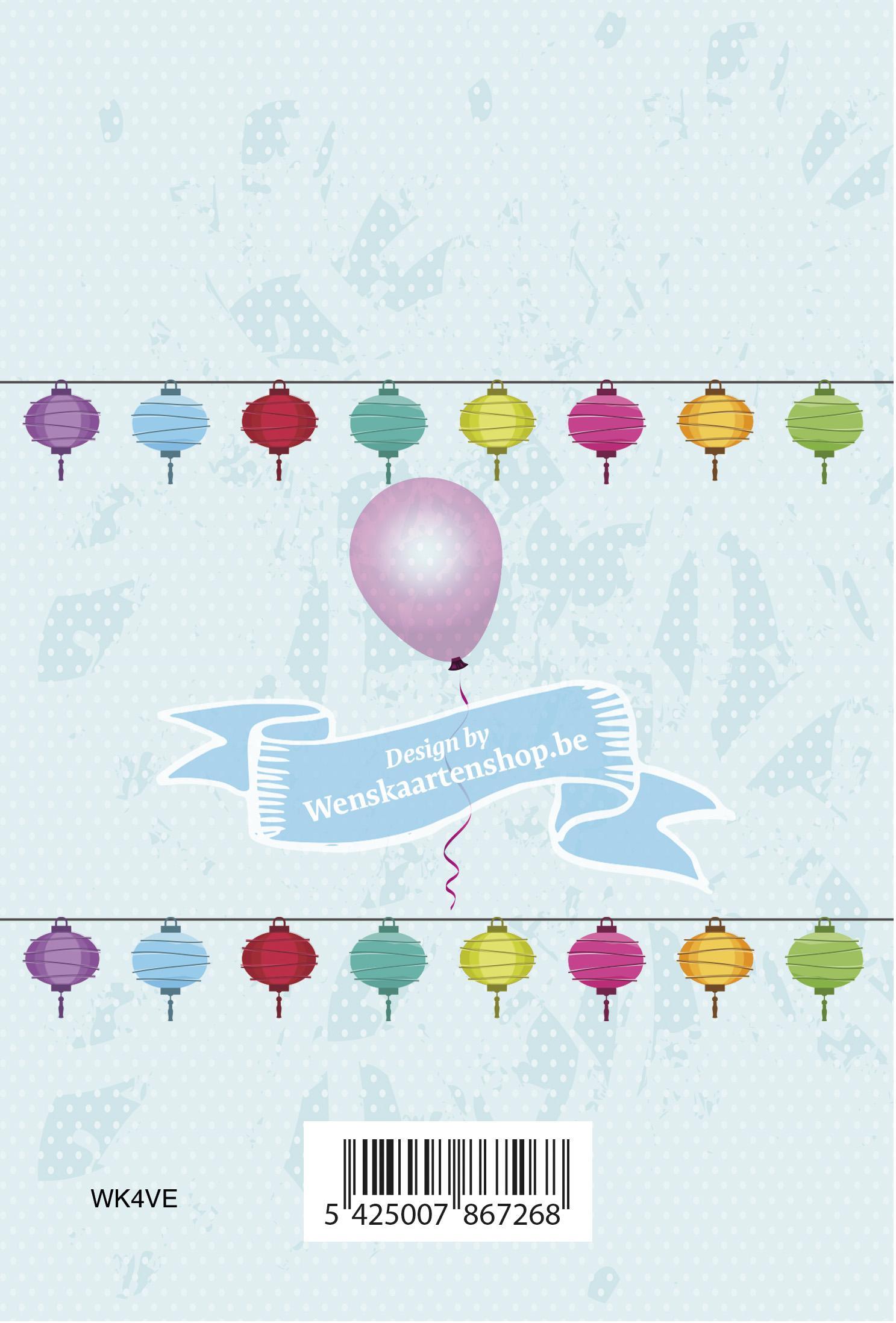 neutrale verjaardagskaart met lampionnen