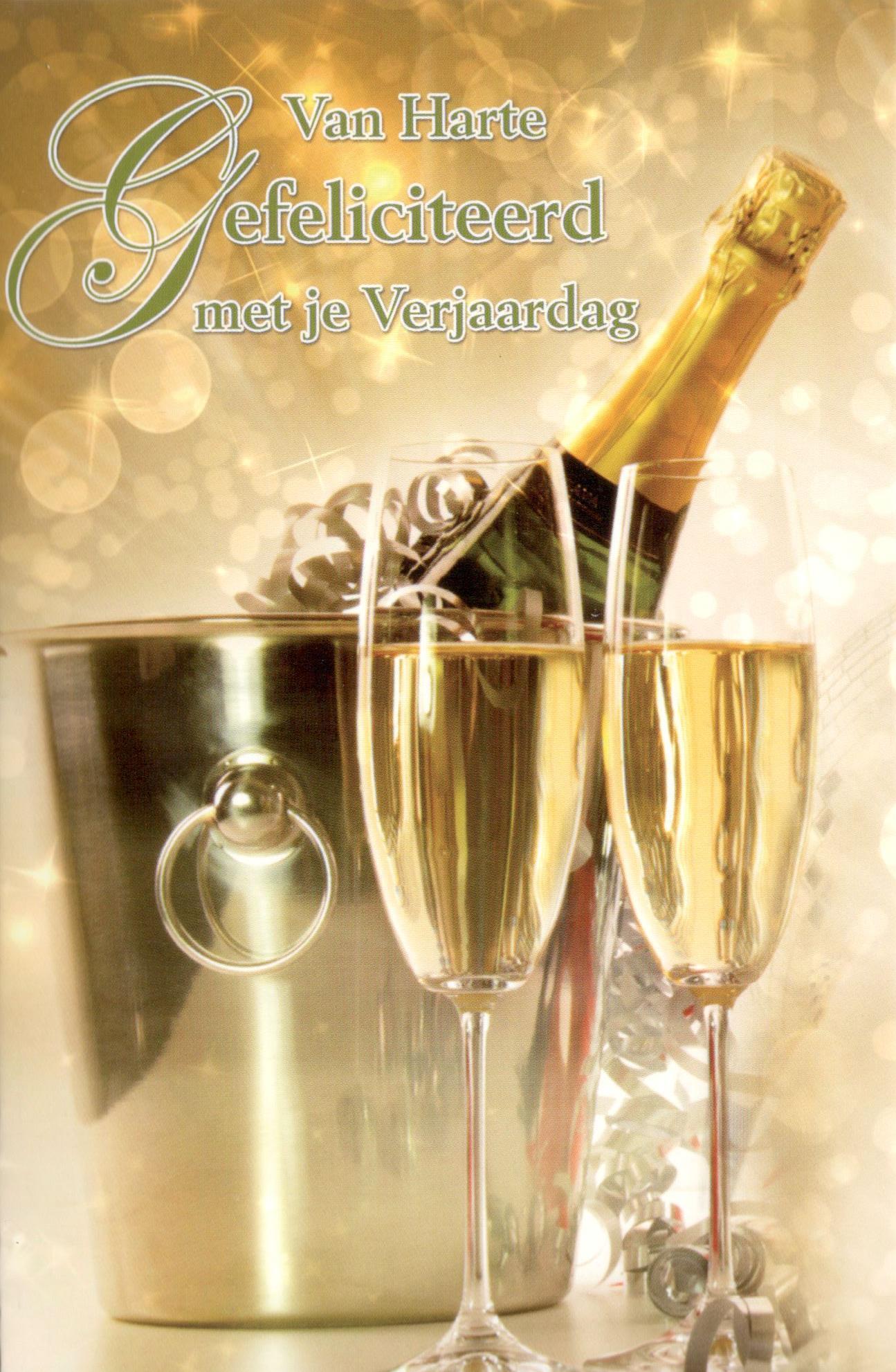 Feestelijke verjaardagskaart met champagne - Chique campagne ...