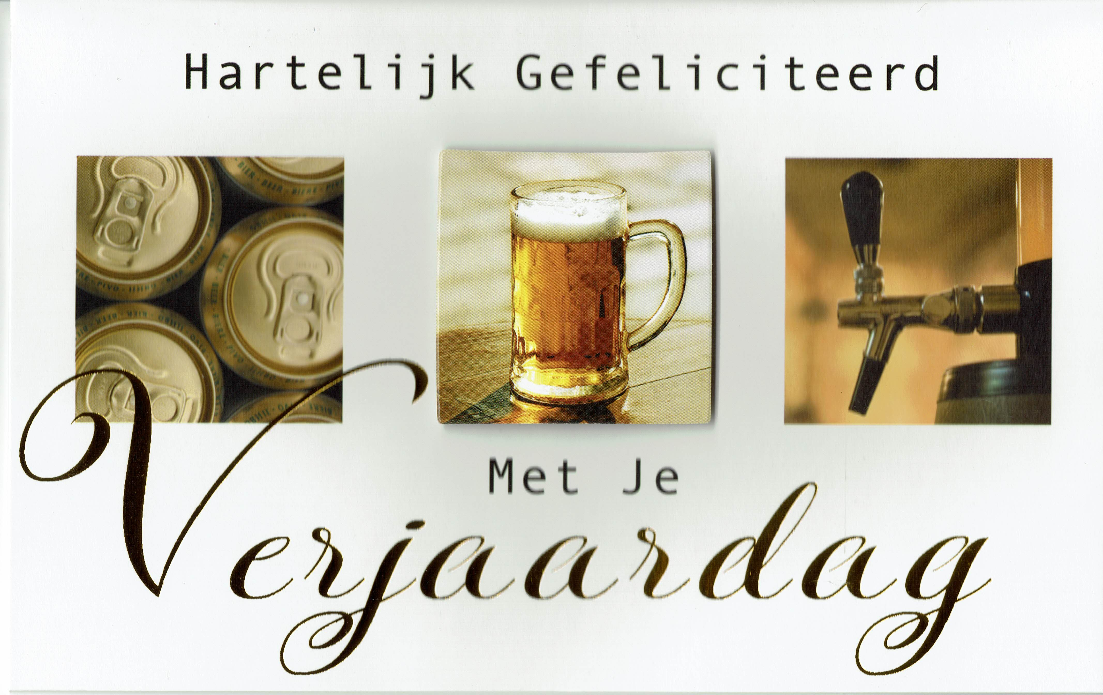Verjaardagskaart Met Collage Van Bier