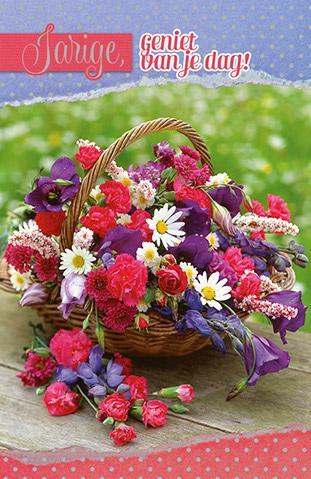 verjaardagskaart bloemen Kaart met grote mand bloemen voor verjaardagen verjaardagskaart bloemen