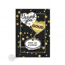 Duidelijke Thank You postkaart met gold details.