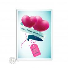 Vrolijke bedankt postkaart met harten ballonnen.
