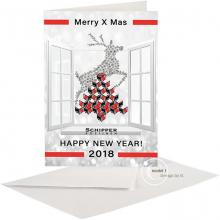 Zakelijke Kerst en Nieuwjaarskaart met kerstboom uit gestapeld logo.