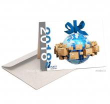 Zakelijke Nieuwjaarskaart met wereldbol als kerstbal.