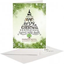 Zakelijke Kerst/Nieuwjaarskaart met typografie kerstboom.