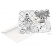 Zakelijke Kerst/Nieuwjaarskaart met interieur foto en typografie kerstboom.
