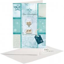 Zakelijke Kerst/Nieuwjaarskaart met zandloper en label voor logo.