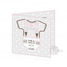 Geboortekaartje met baby romper voor meisje.