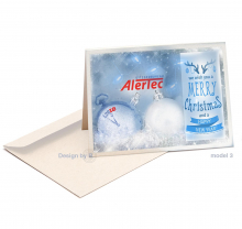 Neutrale zakelijke Kerst en Nieuwjaarskaart in koele tinten.