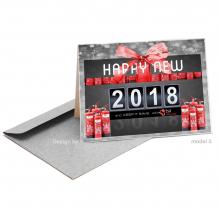 Zakelijke Nieuwjaarskaart met brandblussers in geschenkverpakking.