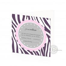 Tof geboortekaartje met zebra motief voor beide geslachten.