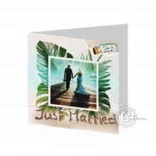 Vierkante tropische Huwelijkskaart/Uitnodiging.