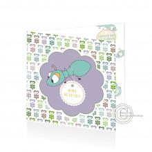 Vierkant geboortekaartje met patroon en miertjes voor beide geslachten.