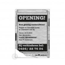 Krantenknipsel postkaart voor opening zaak.