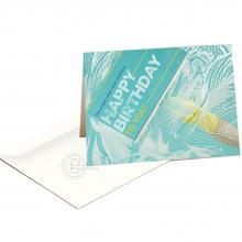 Zakelijke verjaardagskaart met afbeelding van ramen wasser voor cleaning sector.